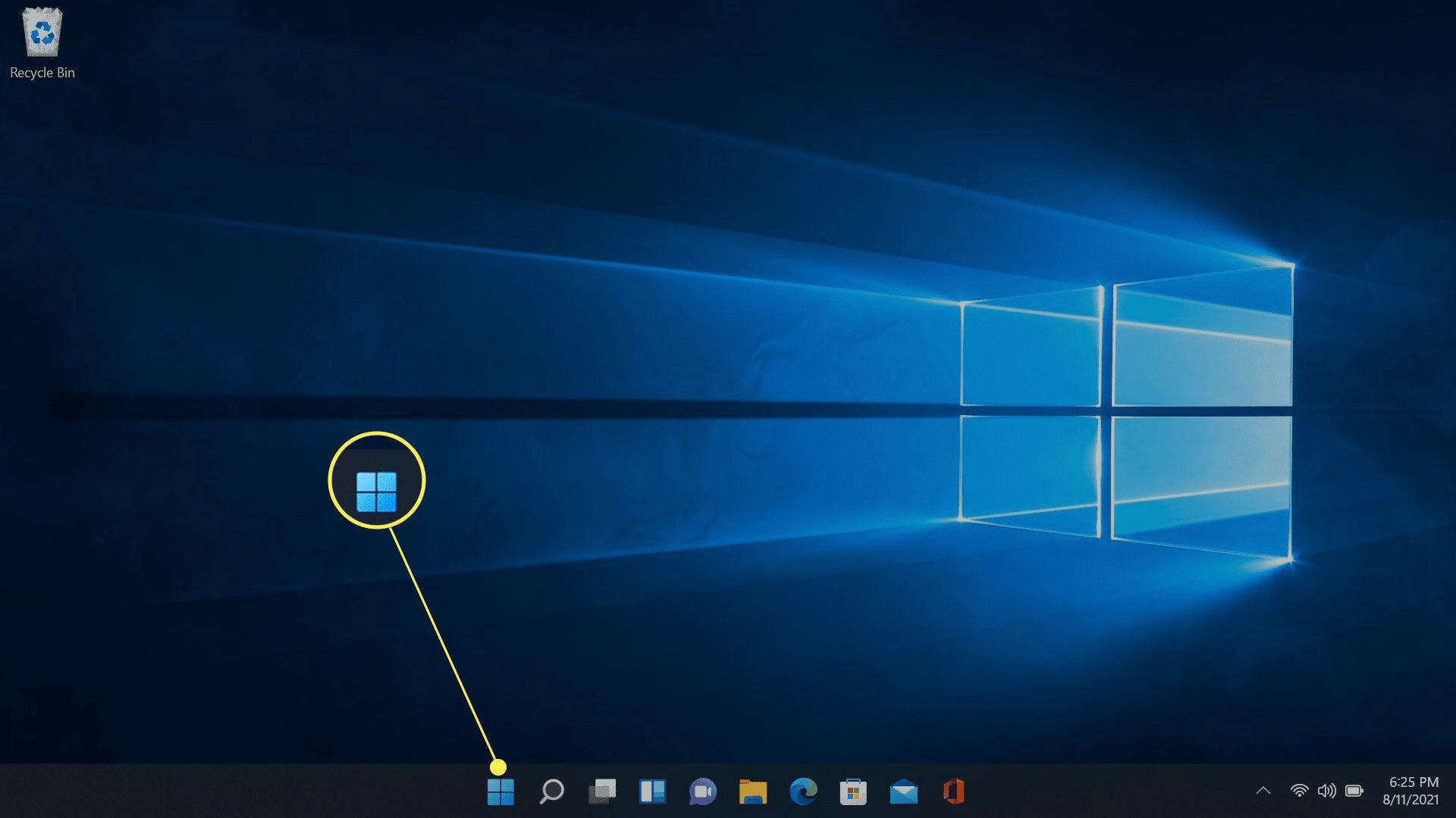 The Windows icon highlighted on the Windows 11 taskbar.