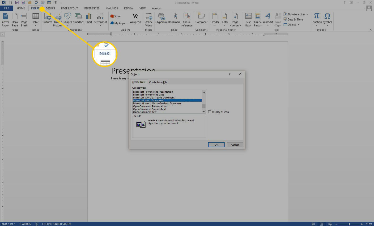 A Word document with the Insert field highlighted