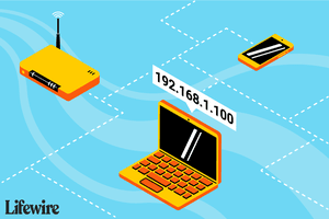 An illustration of a laptop with the address 192.168.1.100 on a network.
