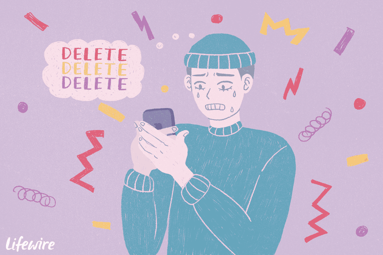 Illustration of a young man frantically deleting texts from his iPhone