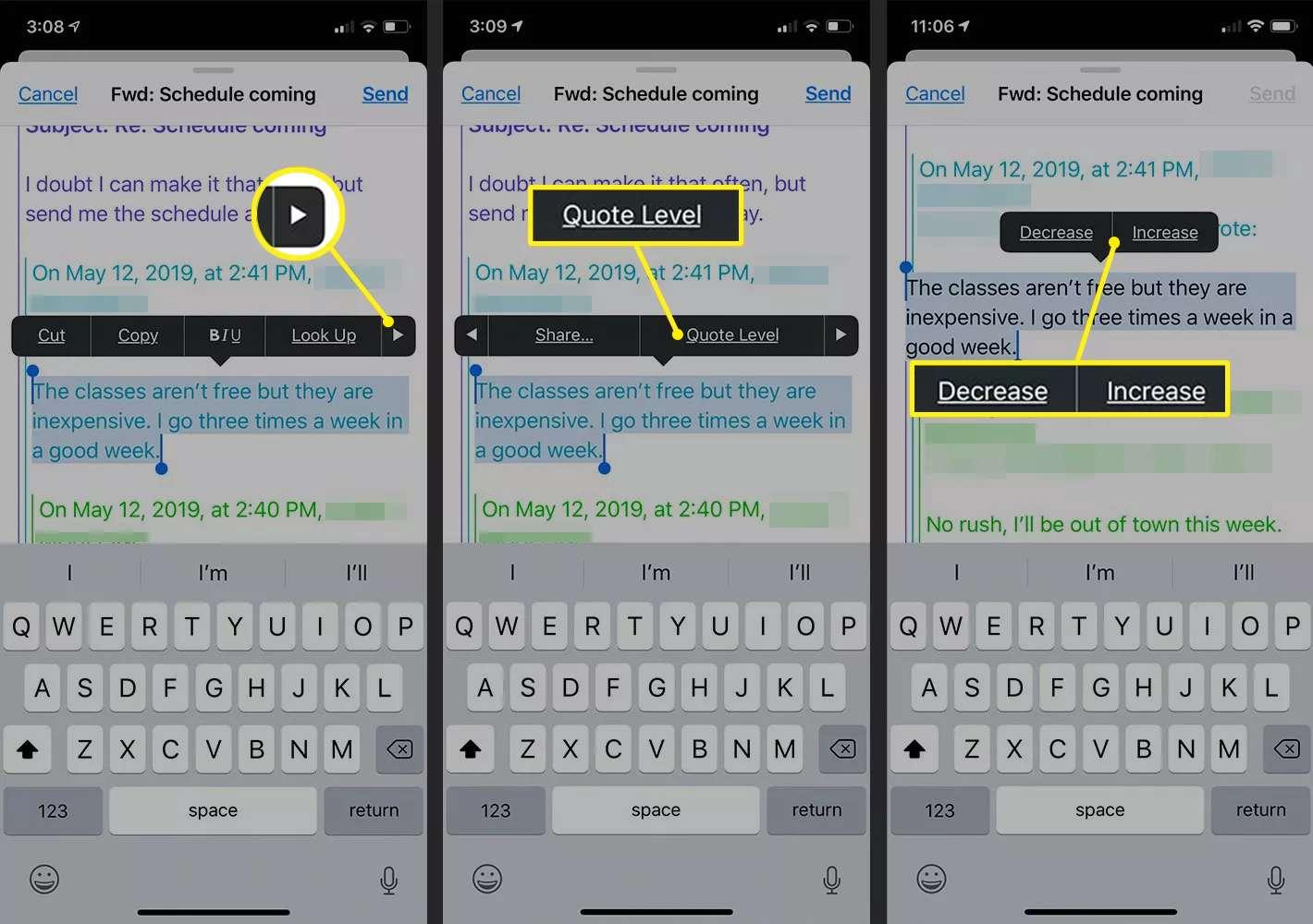Floating menu bar in iOS Mail app
