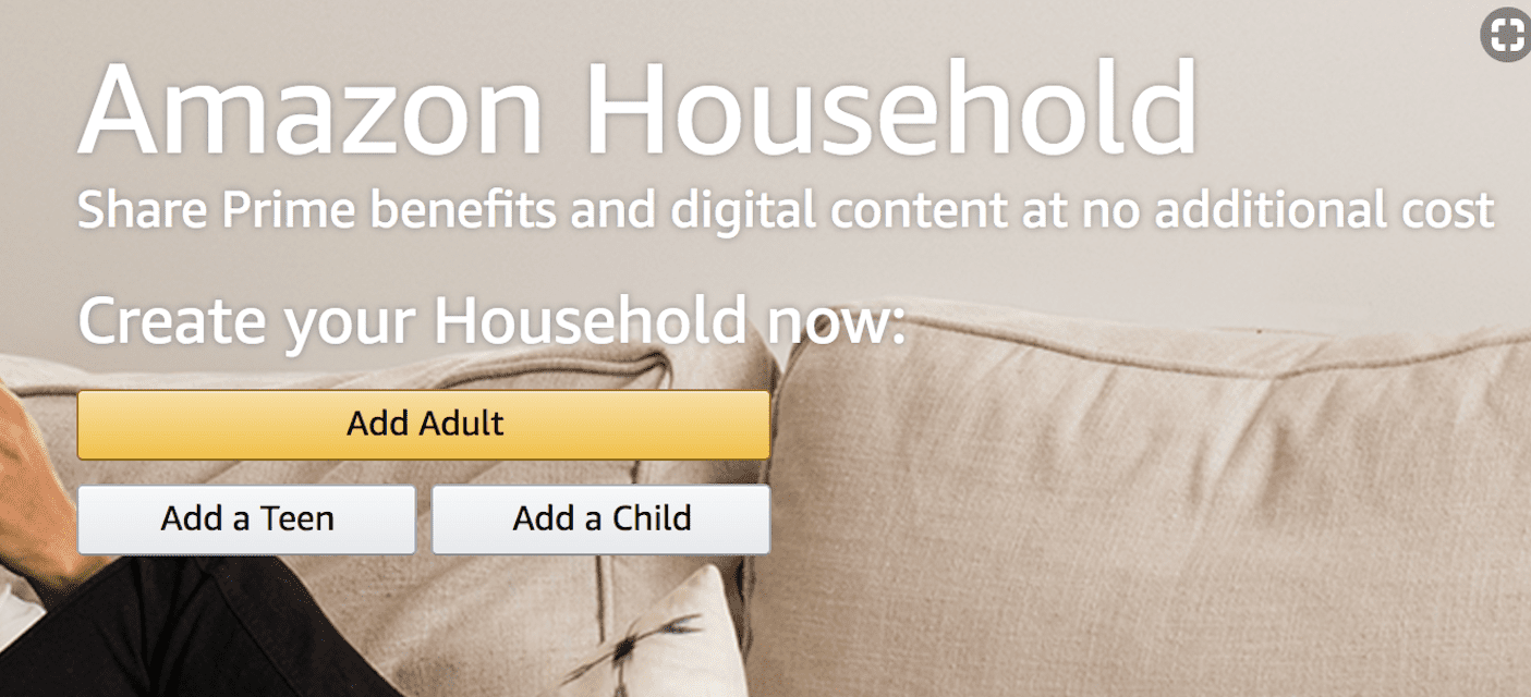 Screenshot of the Amazon Household sign-up page, with buttons to Add Adult, Add a Teen, or Add a Child