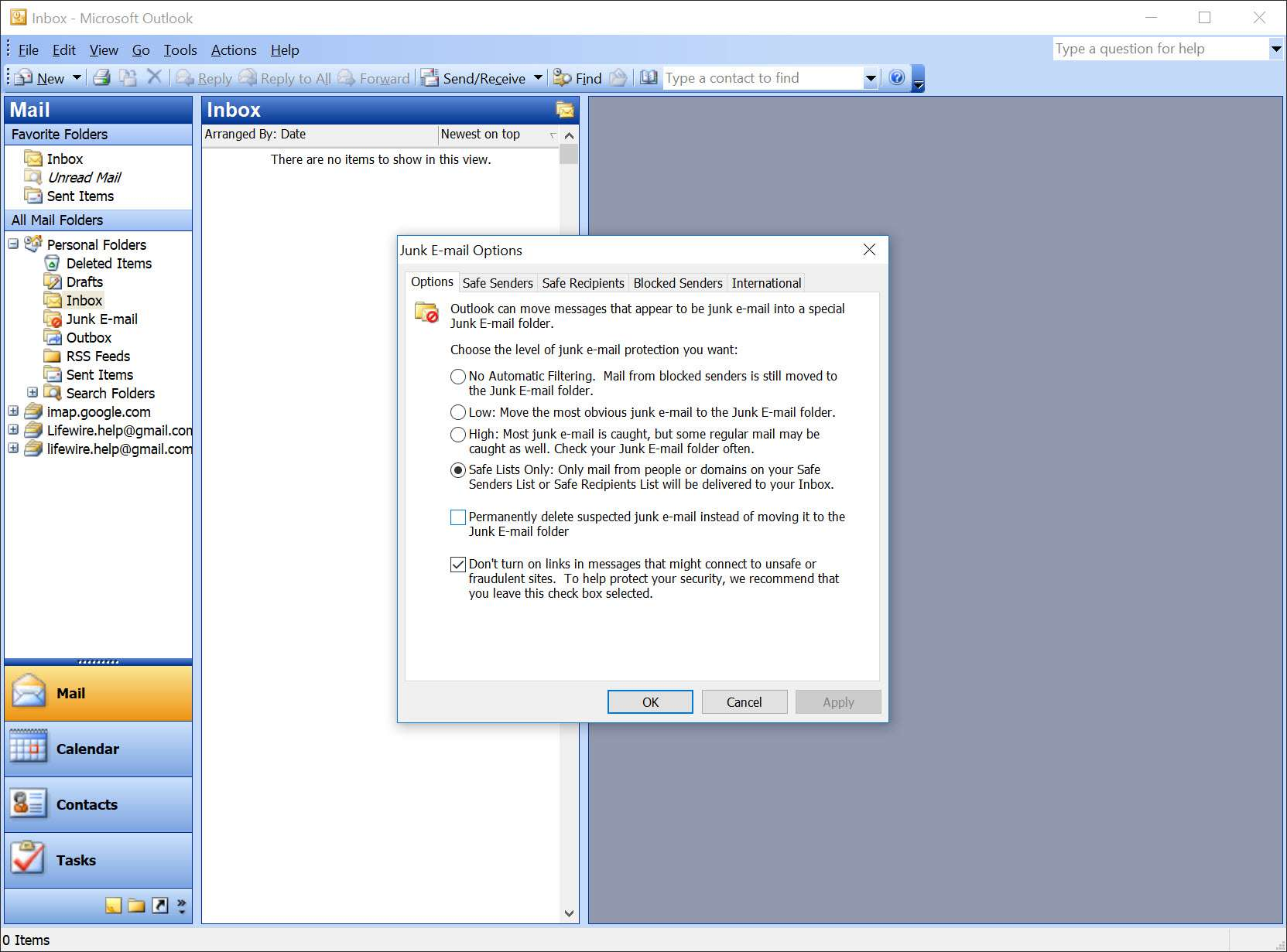 How to Set Outlook to Accept Only Mail From Known Senders