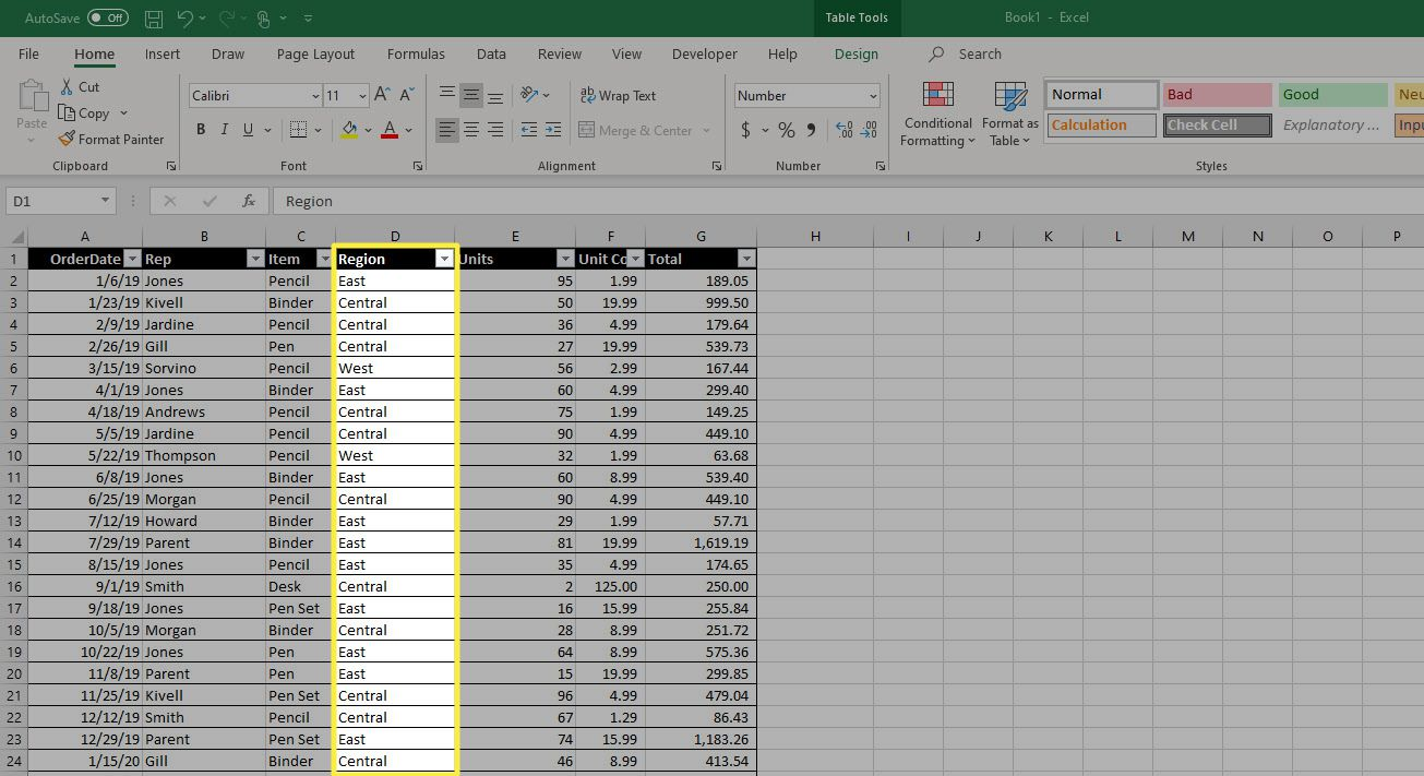 An Excel column in a new location after being moved.