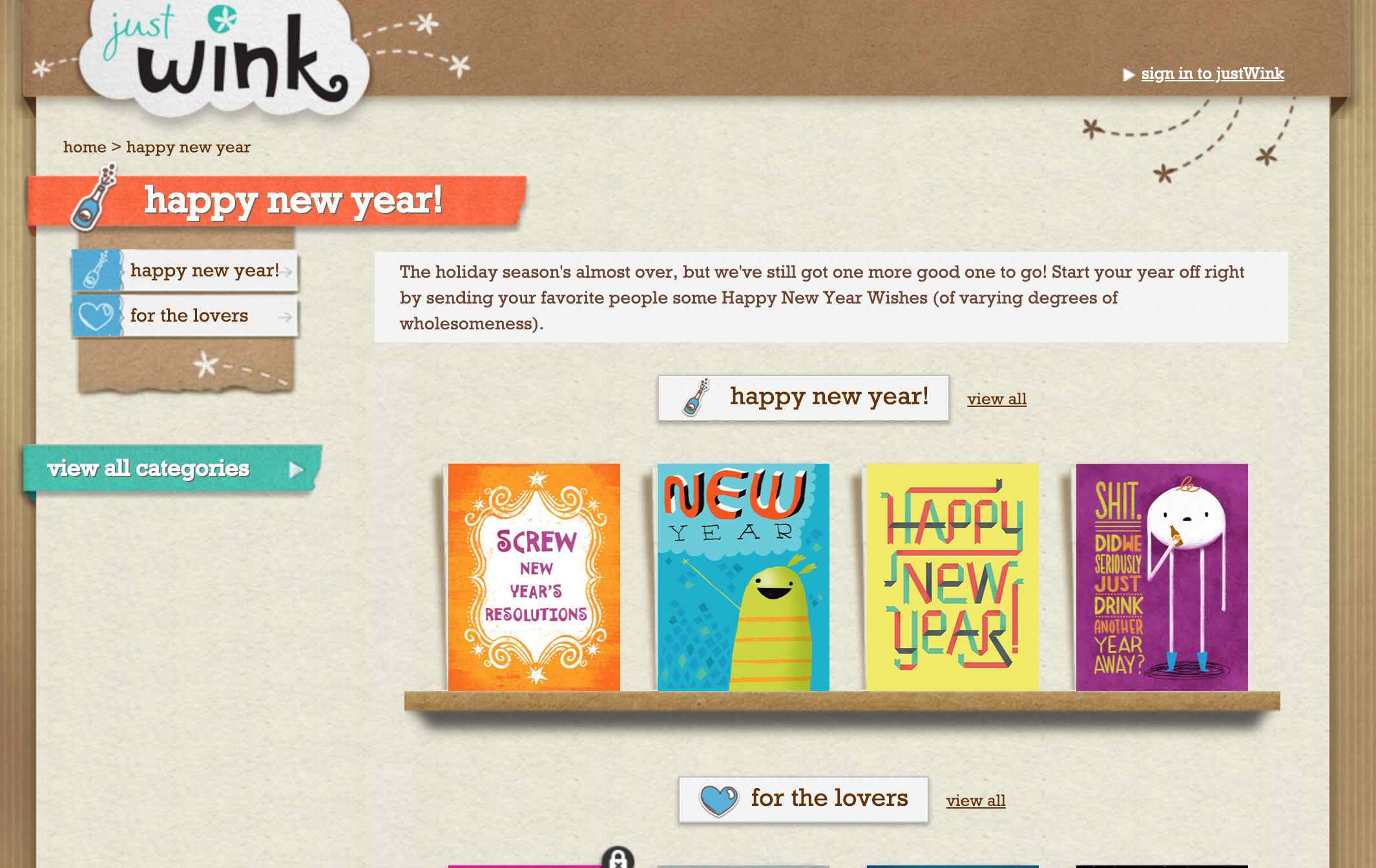 Just Wink website