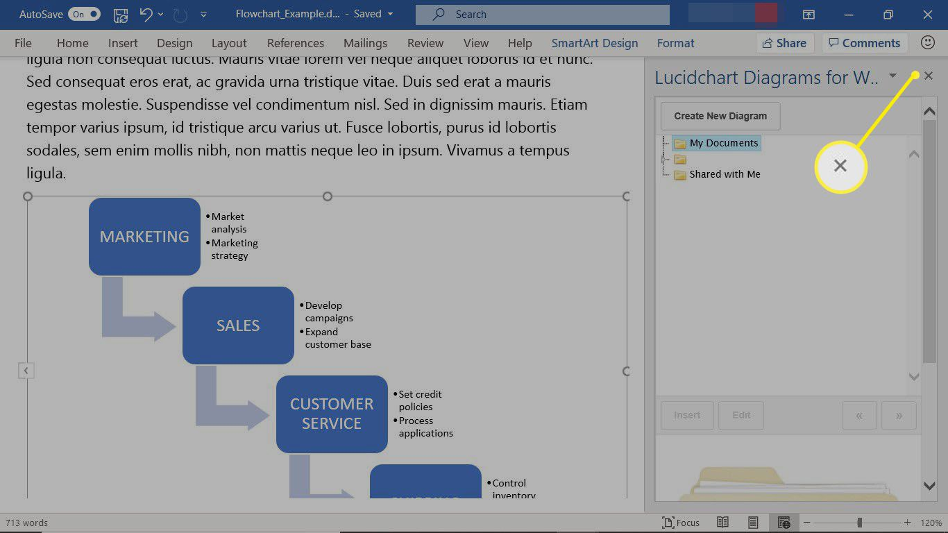An add-in for Microsoft Word that is open in the right pane