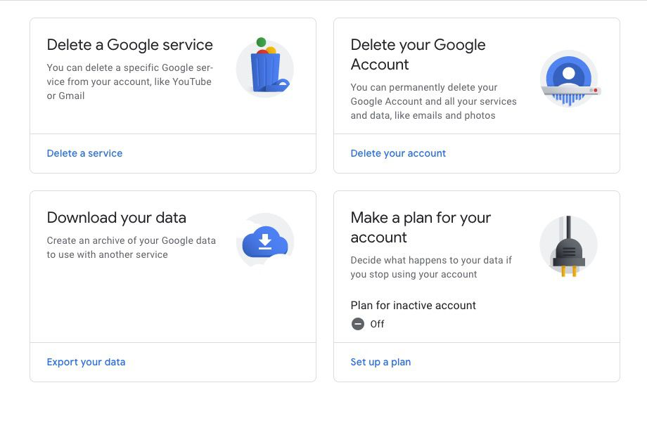 Delete a Google service on YouTube
