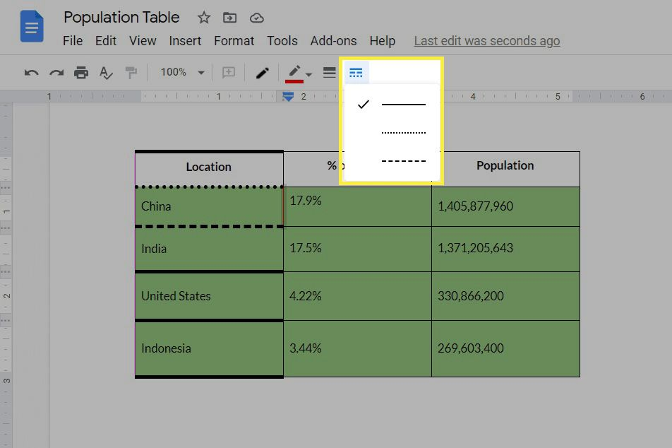 Table formatting options in Google Docs.