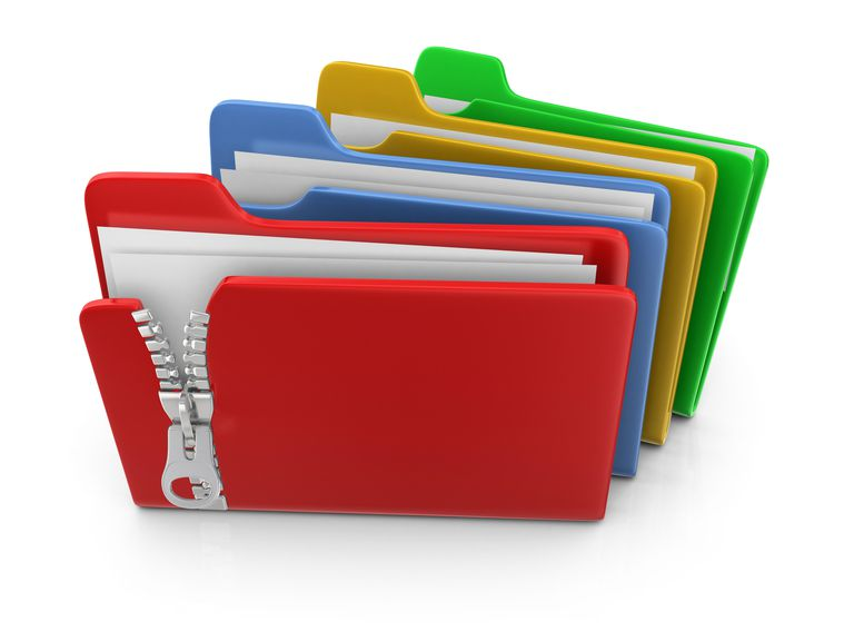 File folders with zippers: green, yellow, blue, and red