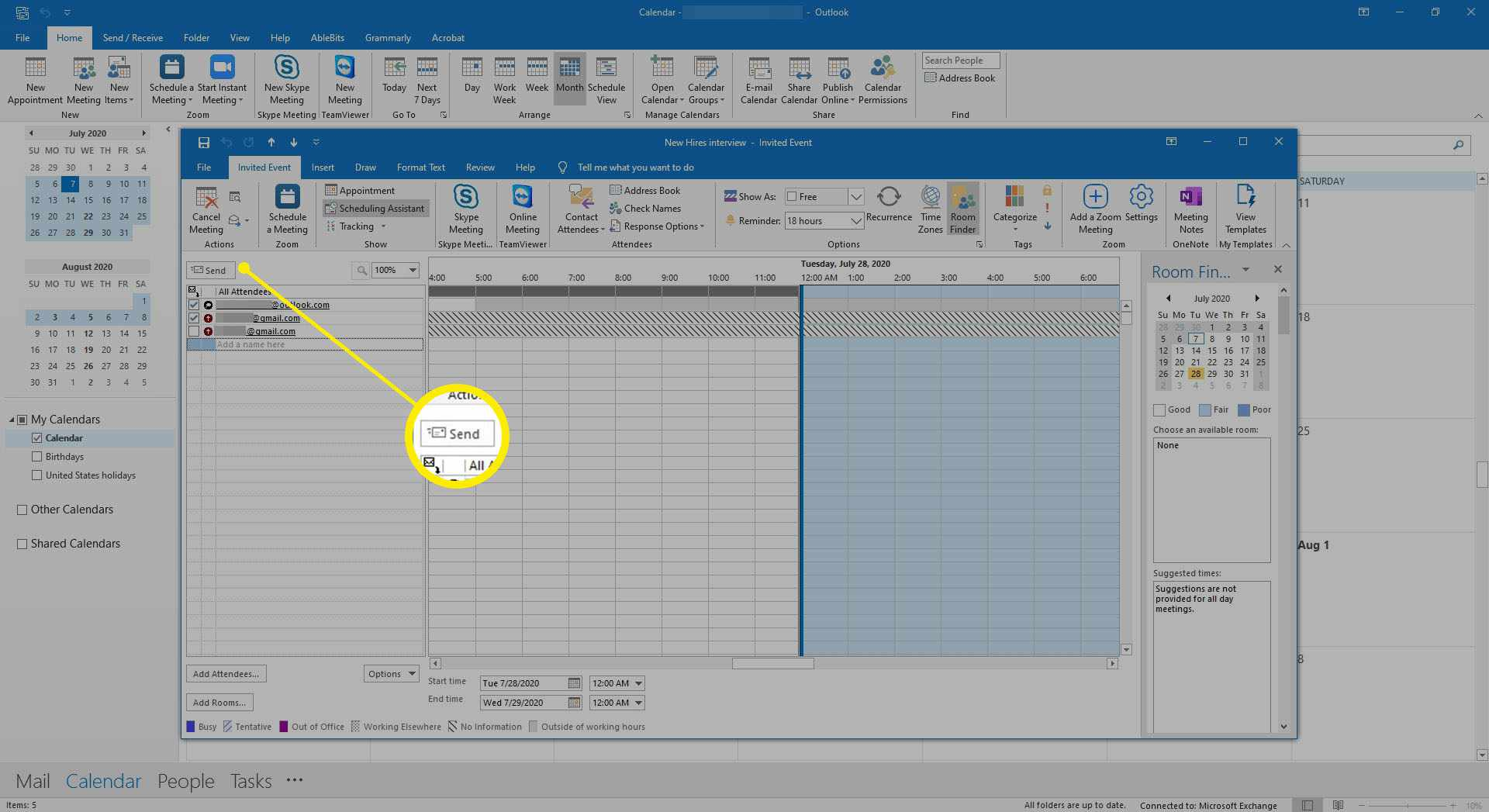 The Outlook Scheduling Assistant showing a deleted attendee.