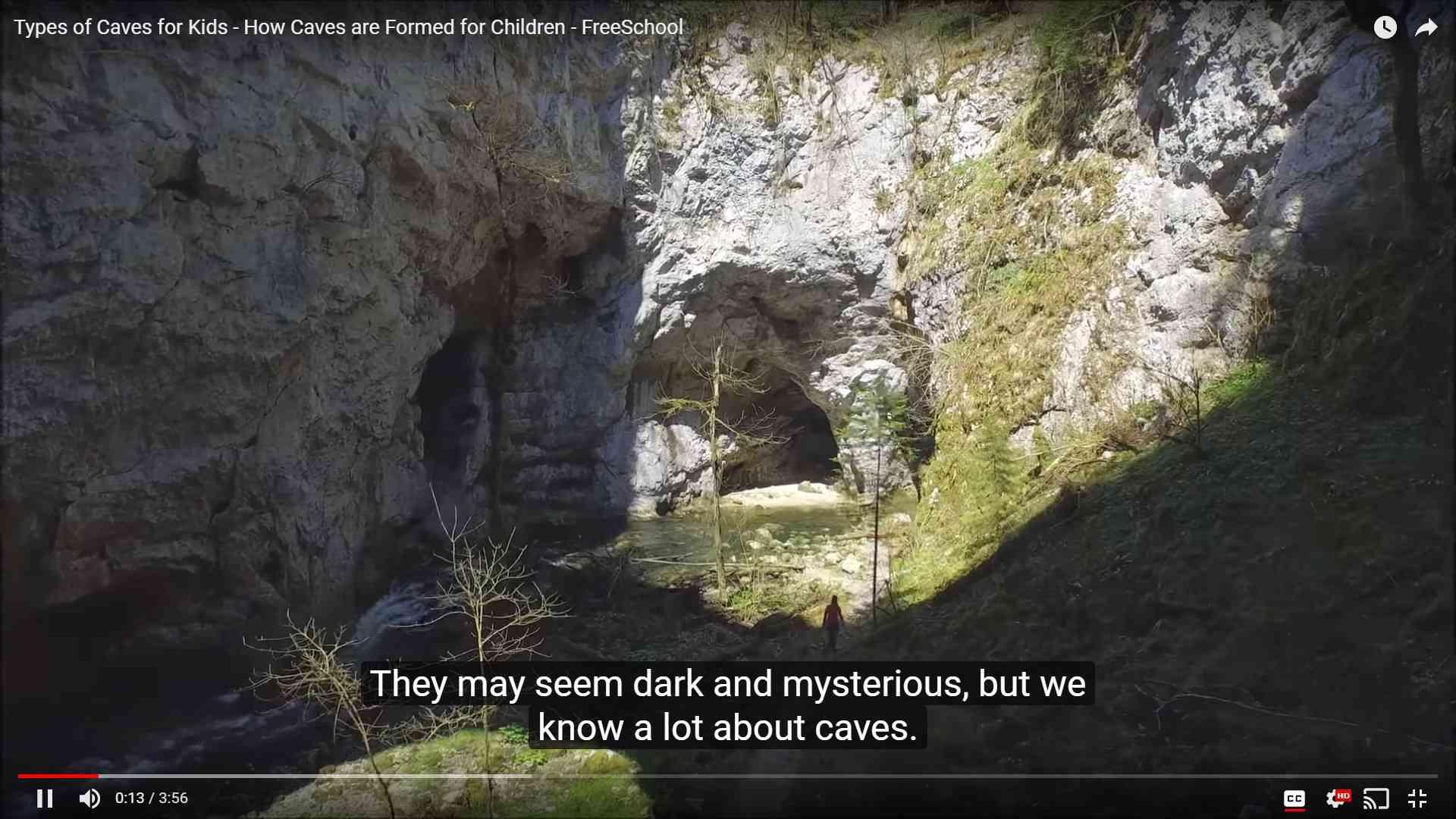 Free School video screenshot depicting a cave