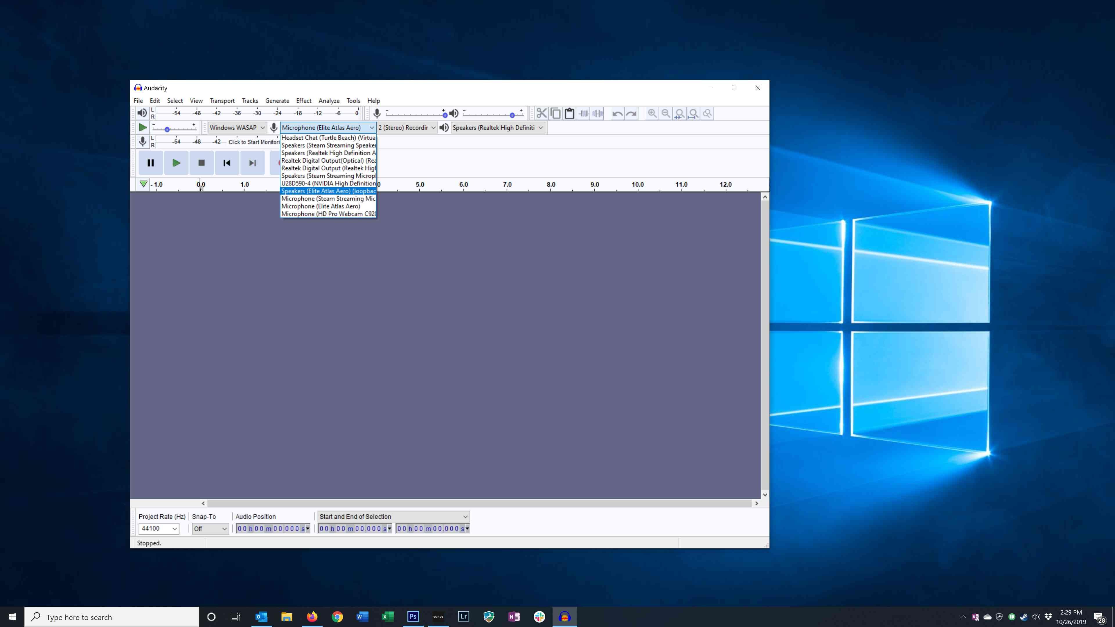 Configuring the audio input in Audacity