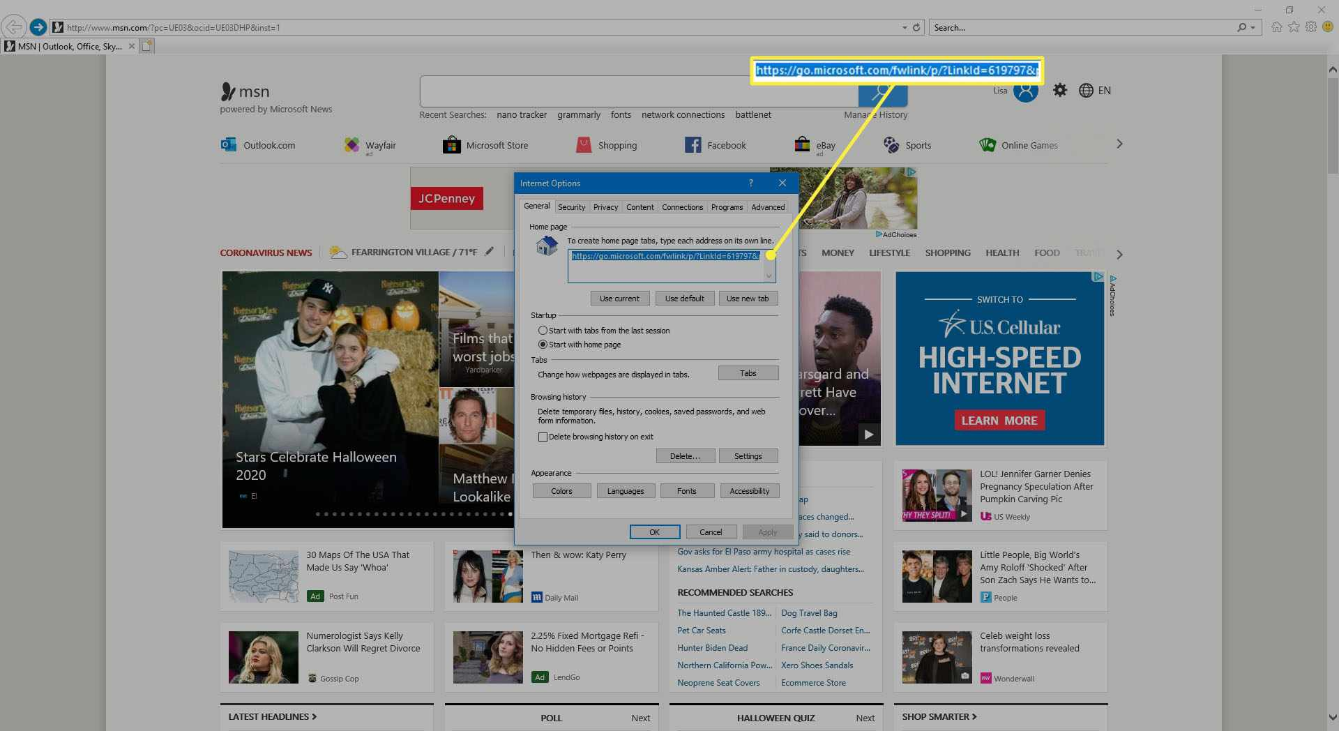 Creating multiple home pages in Internet Explorer