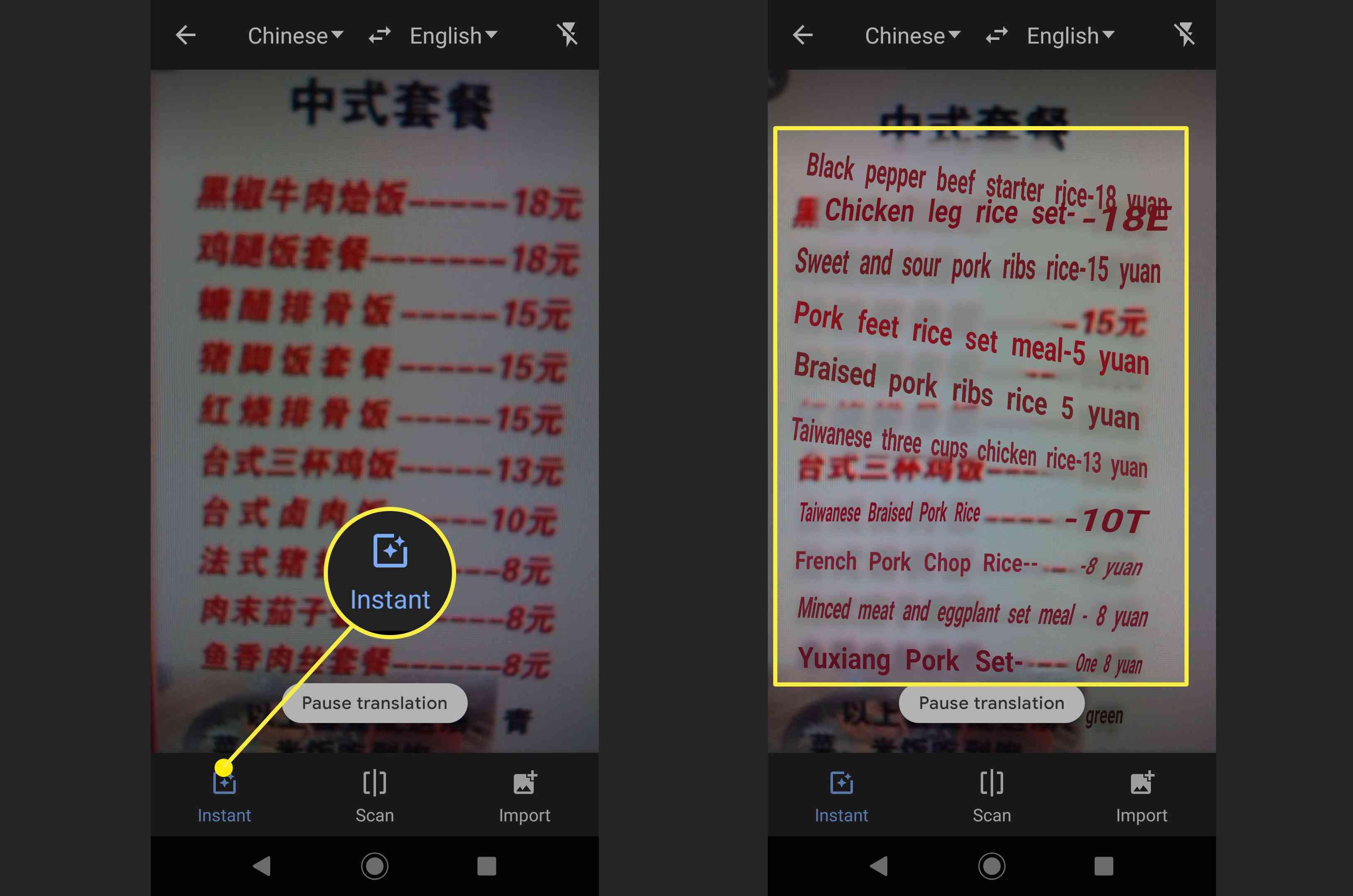 Screenshots of a photo translation in Google Translate.