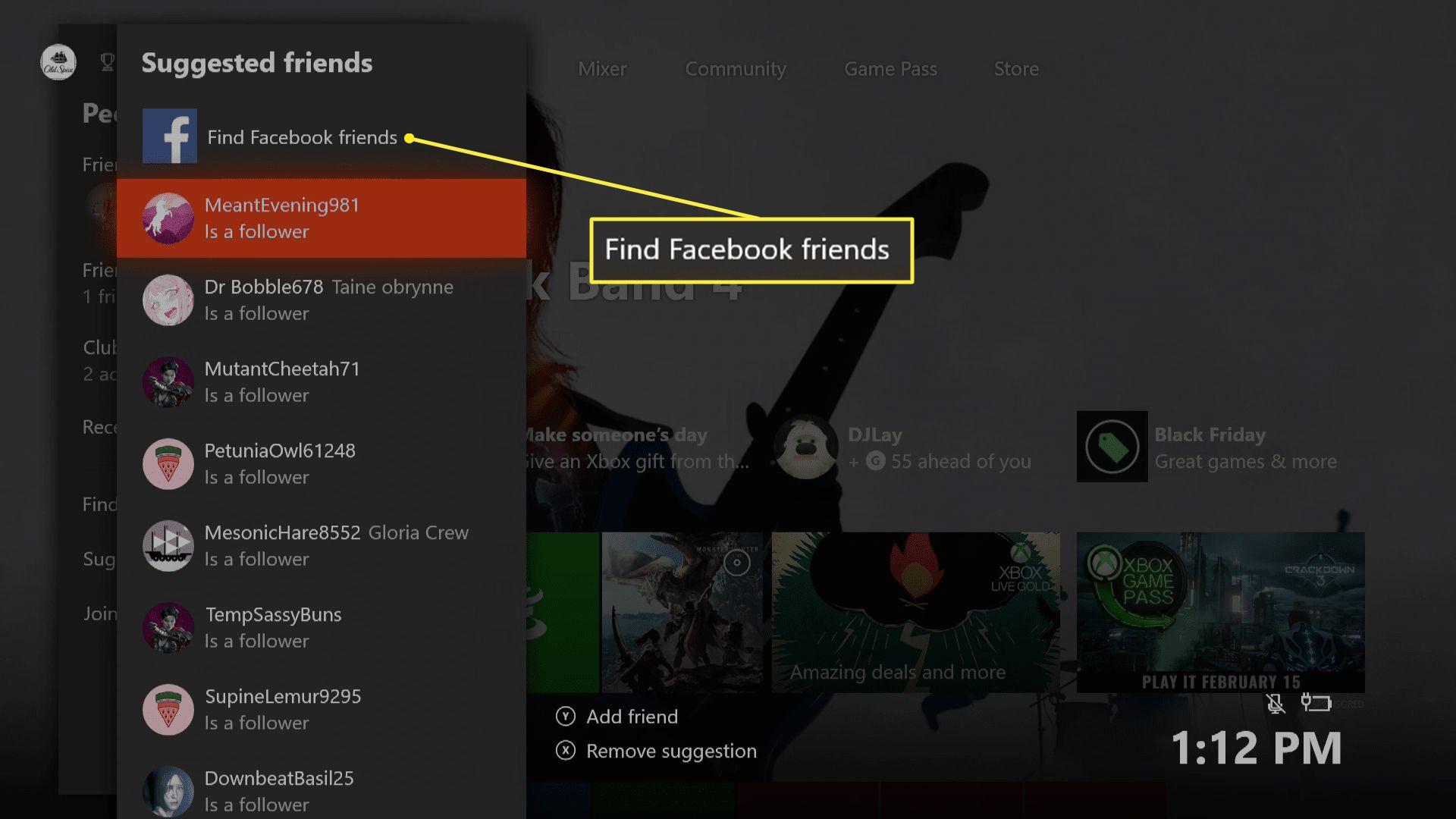 Xbox One suggested friends menu