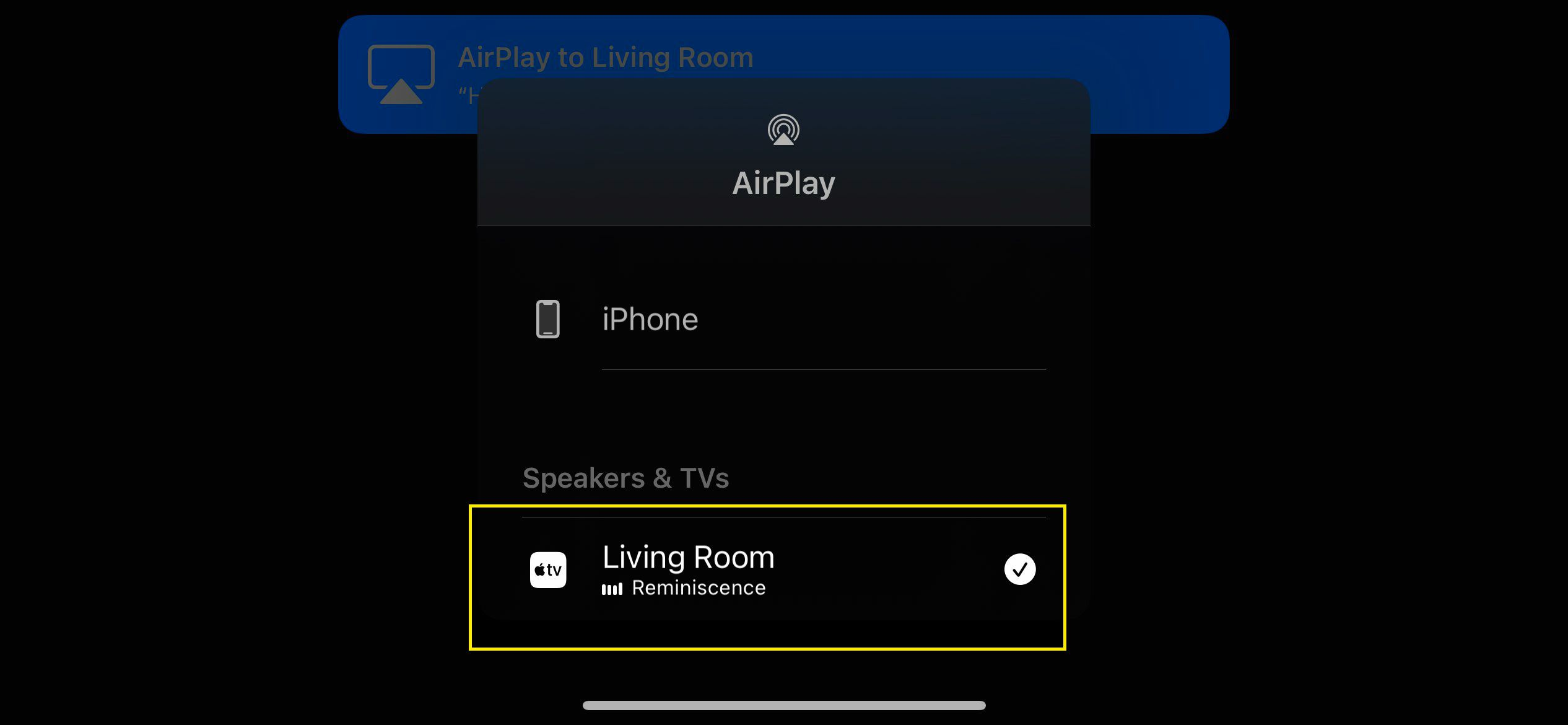 AirPlay menu in a video app showing an Apple TV selected