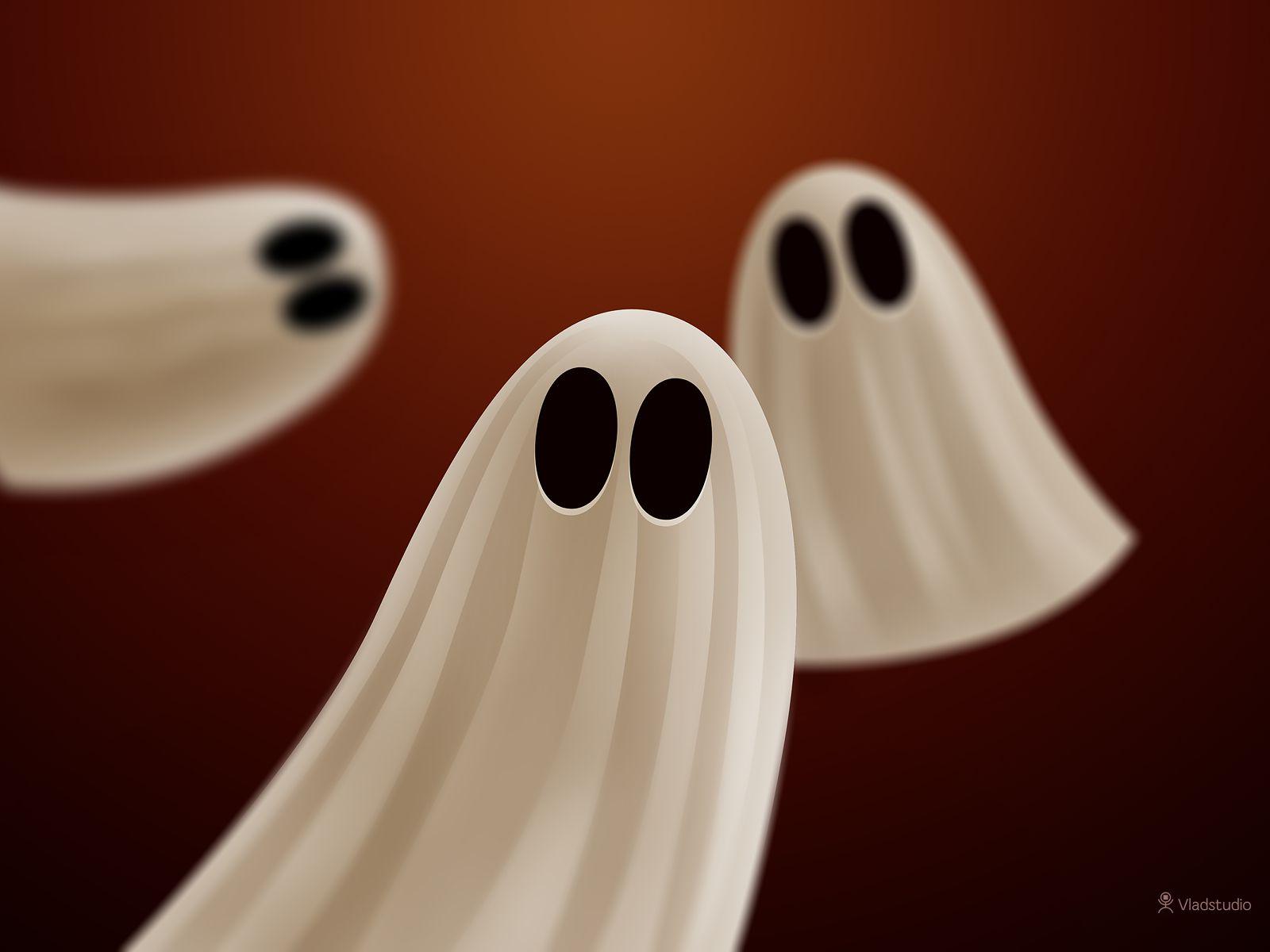Three Halloween ghosts.