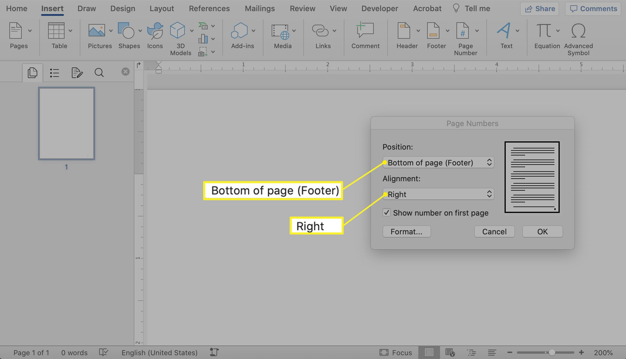 The Page Numbers pop-up window in Microsoft Word