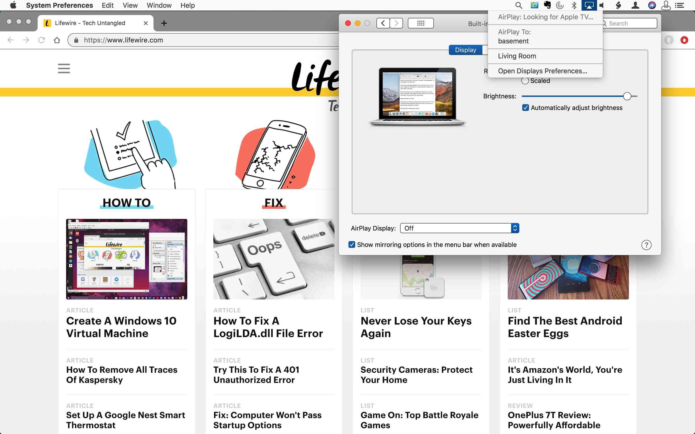 Screenshot of AirPlay in the Mac menu bar