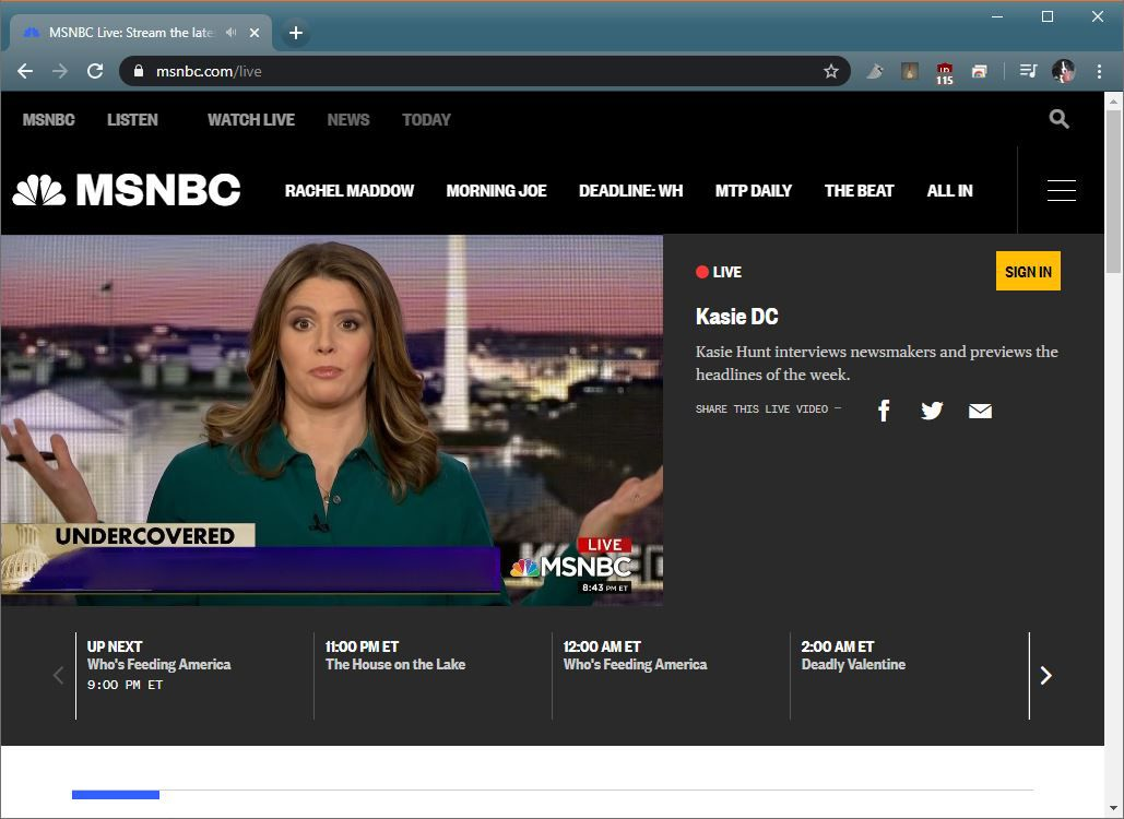 A screenshot of the MSNBC live stream.