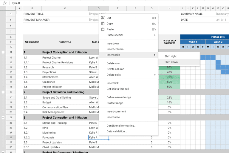 how to add without cell of google sheet