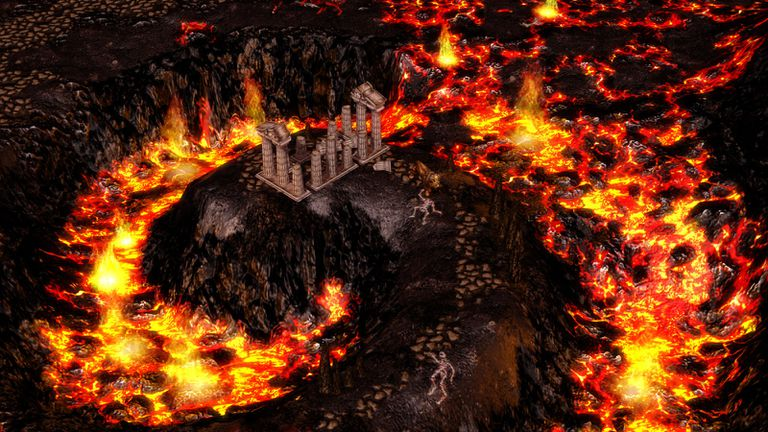 Burning lava surrounding a ruin on a hill from Age of Mythology