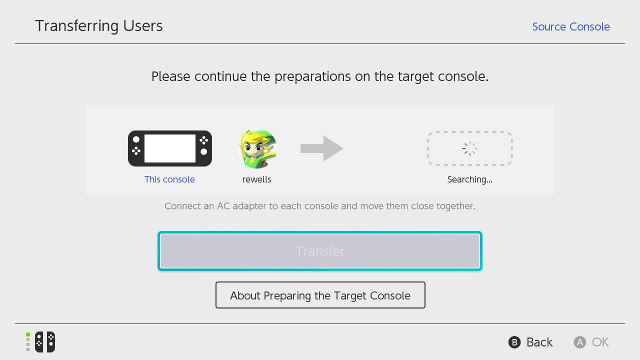 Once the source console detects the target console, select Transfer on the source console.