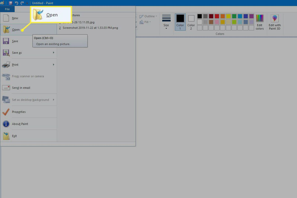 Opening a Paint file