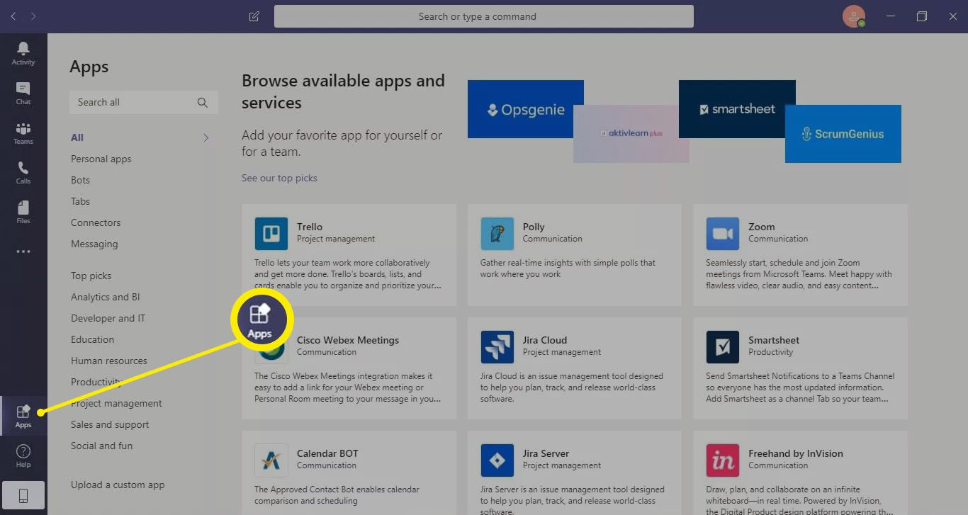 Select Apps in the toolbar to see third-party apps for Microsoft Teams.