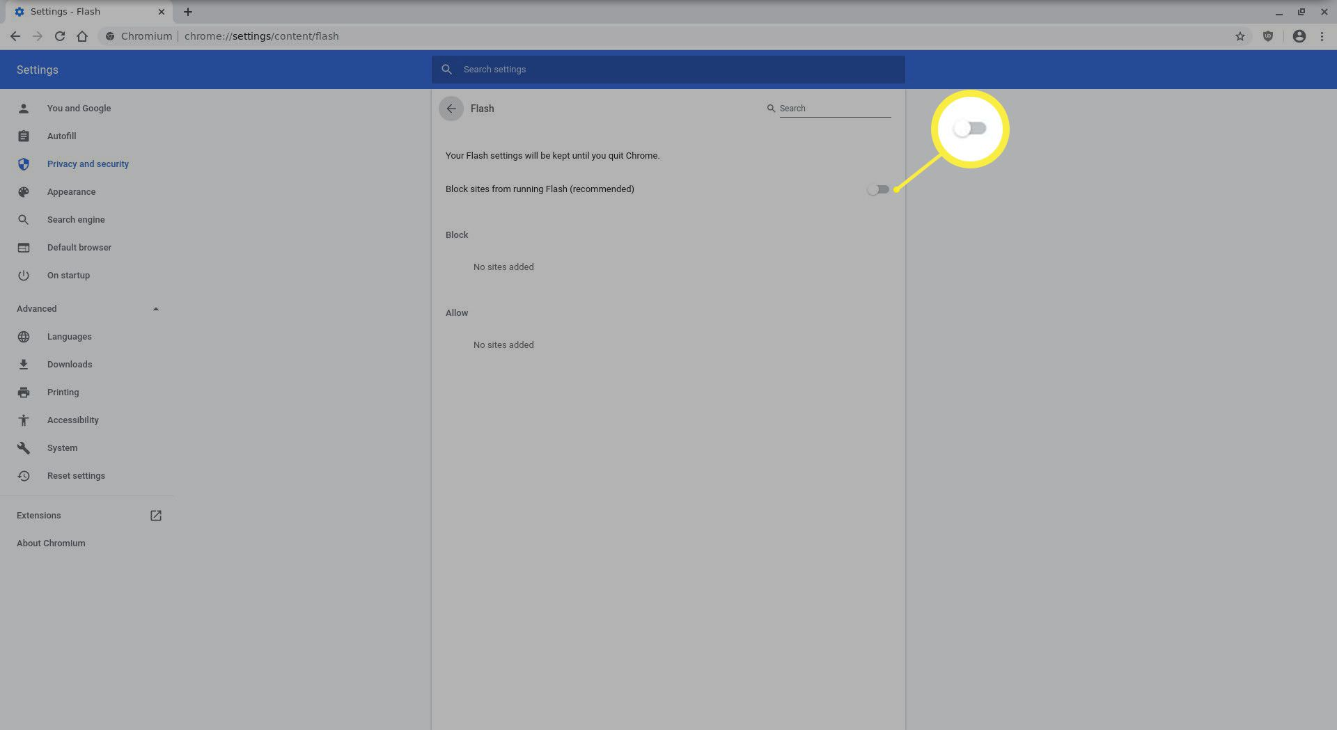 The Chrome Flash settings preference pane.