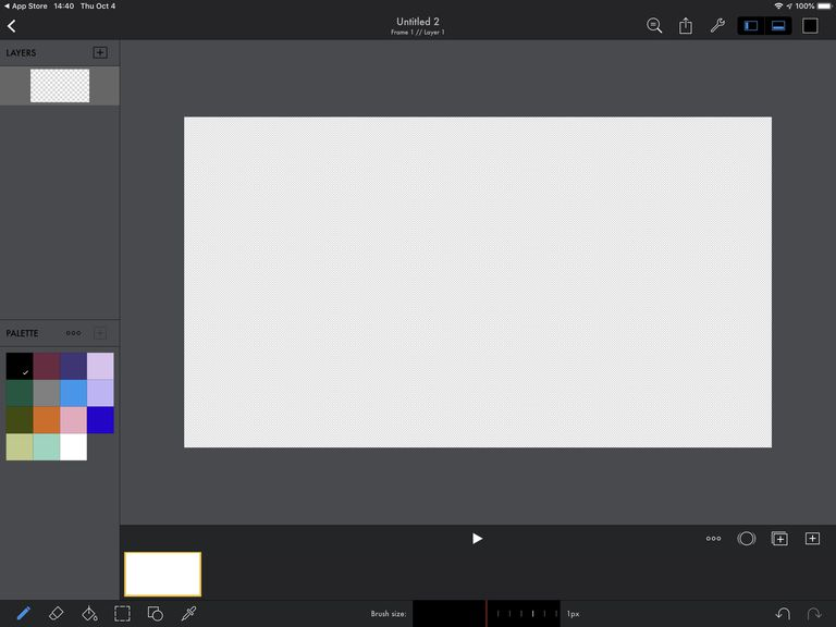 Screenshot of new, blank drawing in Pixaki