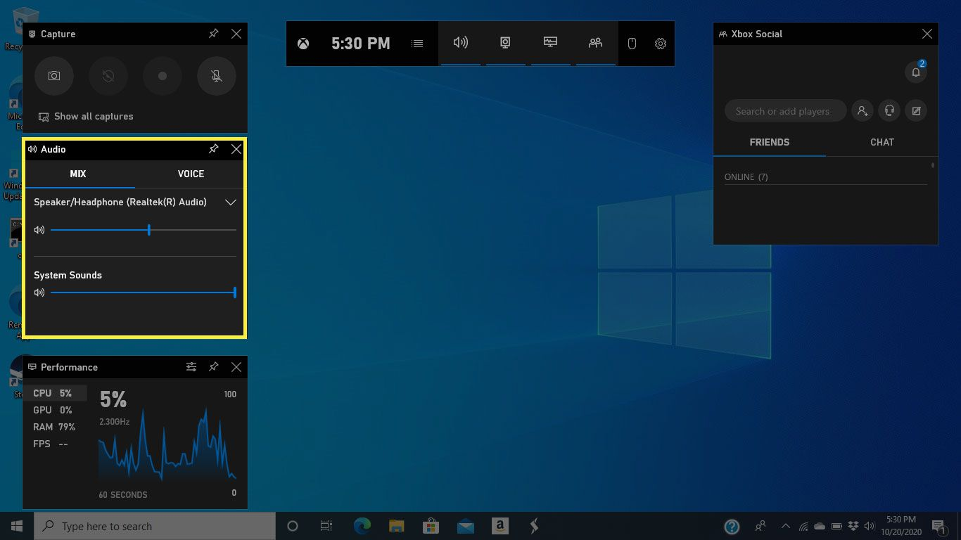 The Audio window in Game Bar