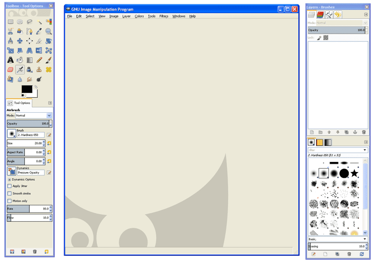 Screenshot of GIMP in Windows XP