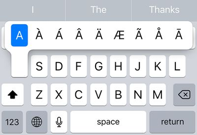use accents on iPhone