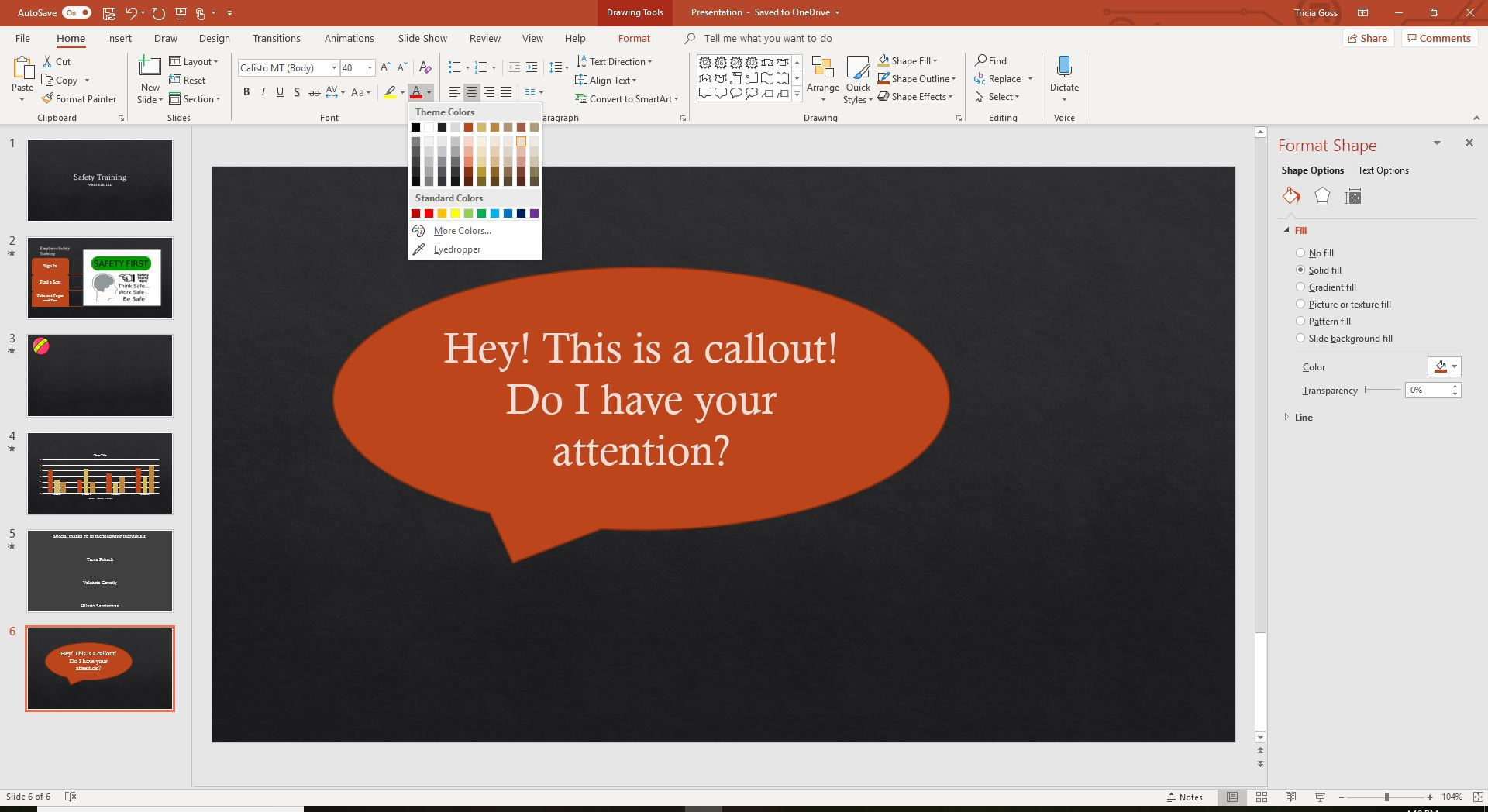 A screenshot of the font colors in PowerPoint.