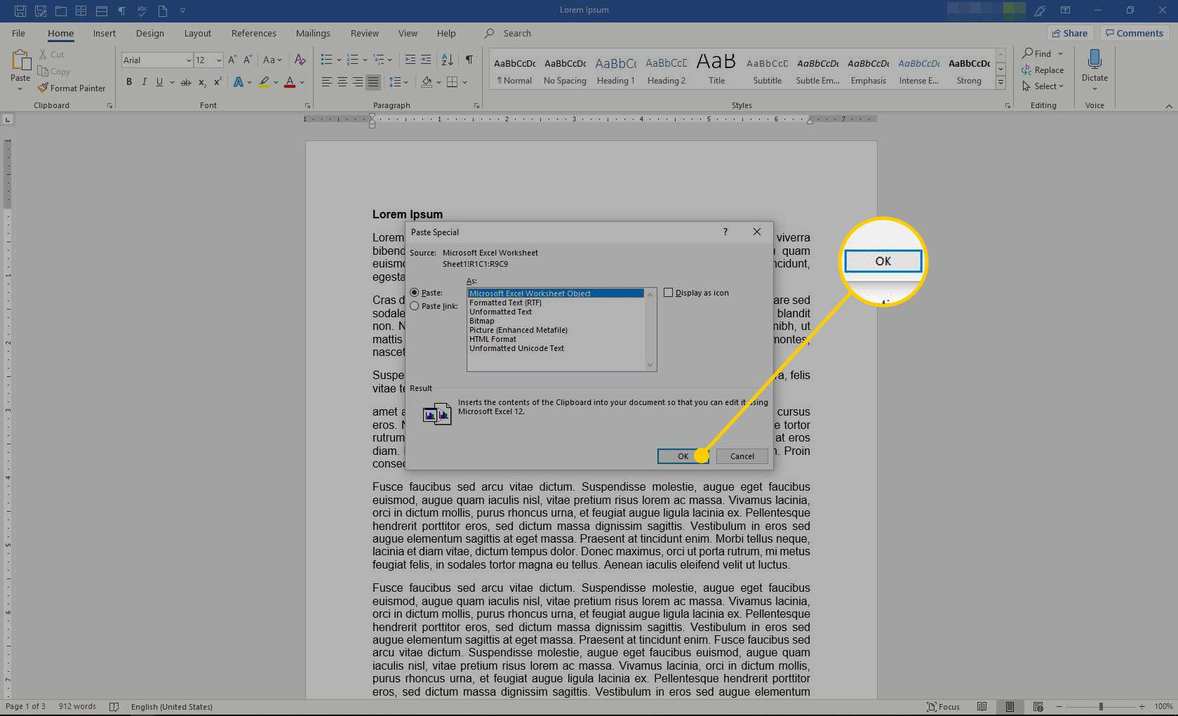 Paste Special menu in Word with the OK button highlighted