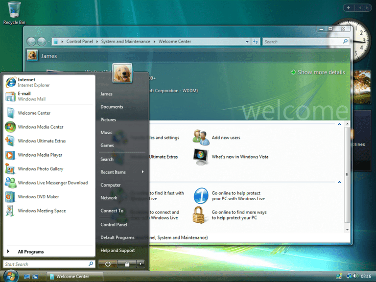 Screenshot of the Windows Vista Start menu and Welcome Screen