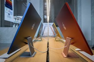 iMacs on display in Apple Store in Rome, Italy.
