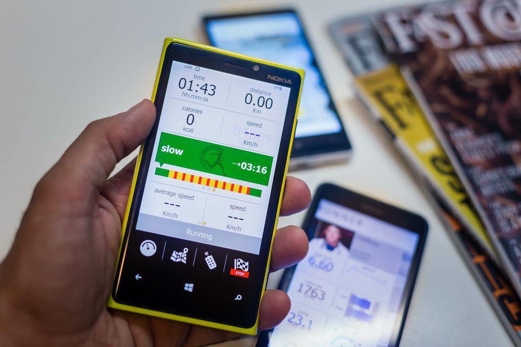 Windows mobile phone running an app