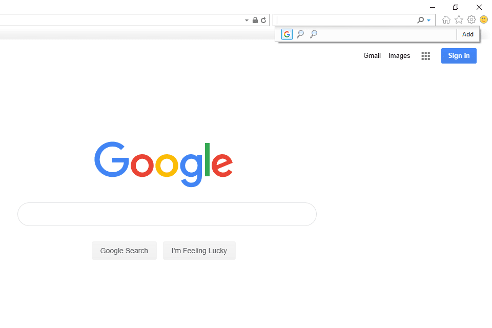 Google Search option in the Internet Explorer search bar