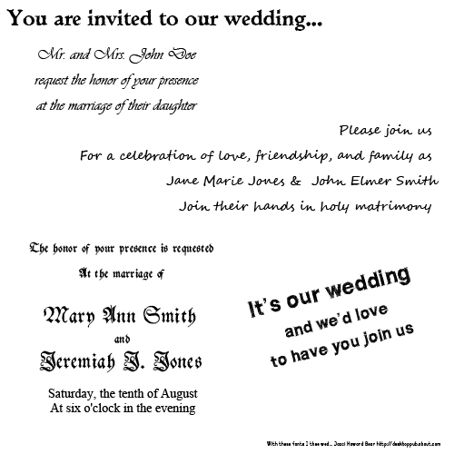 Wedding Invitation Fonts.Tips On The Best Fonts For Wedding Invitations