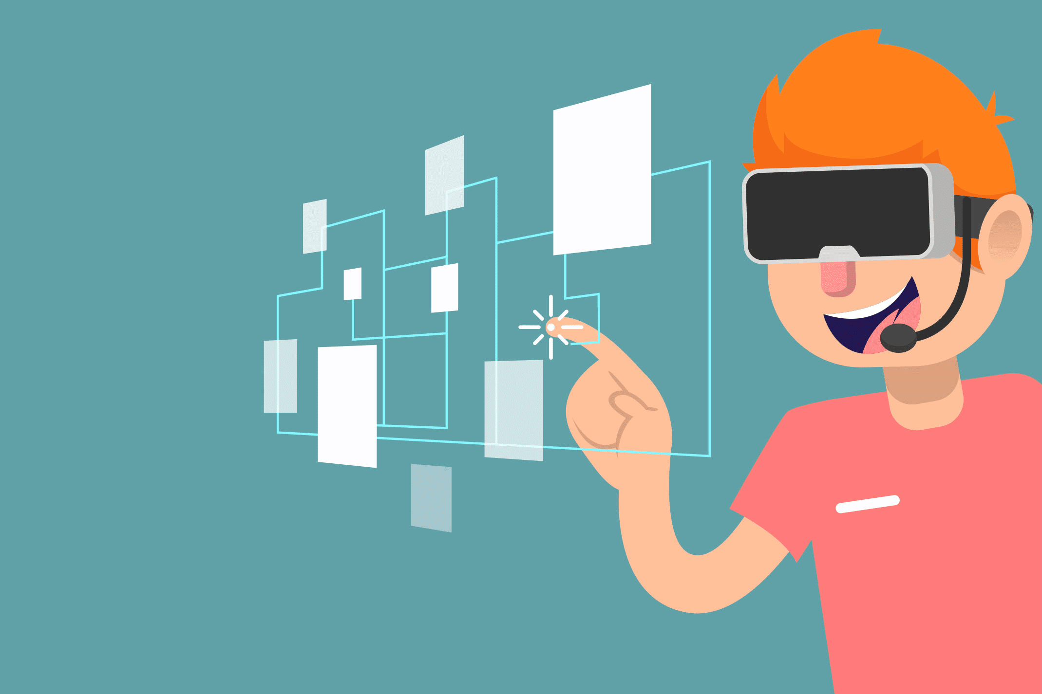 Illustration of a boy playing with augmented reality