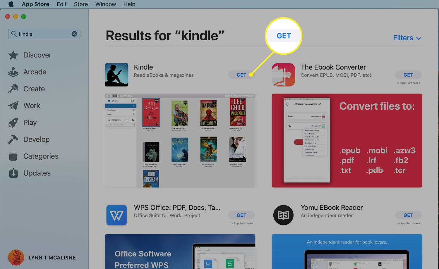 Kindle app in App Store with Get highlighted