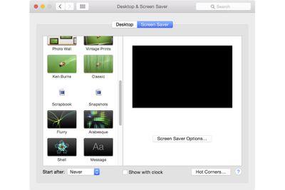 Screen Saver Preference Pane on Mac