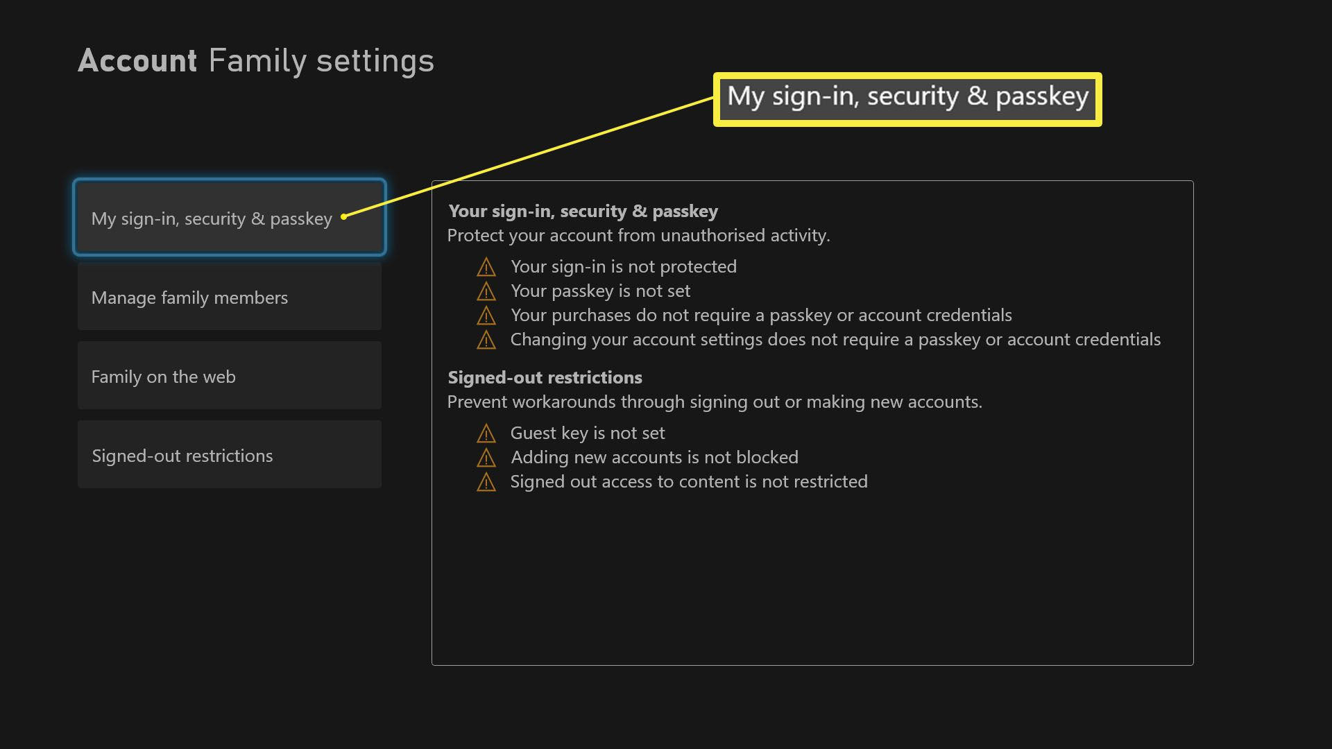 Xbox Series X Family Settings with My Sign-in, security and passkey highlighted