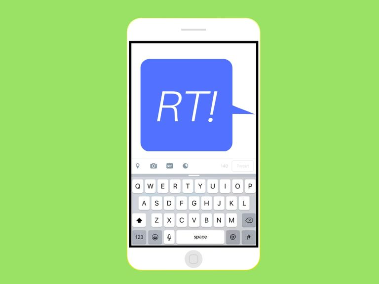 "An image graphic of a text message that says ""RT!"" on a smartphone"