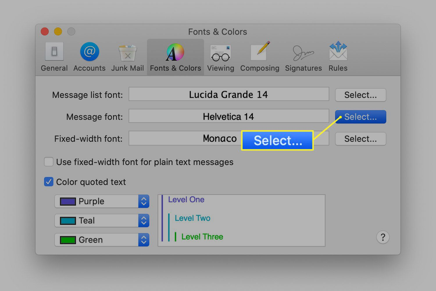 Fonts & Colors preferences screen for Mac Mail