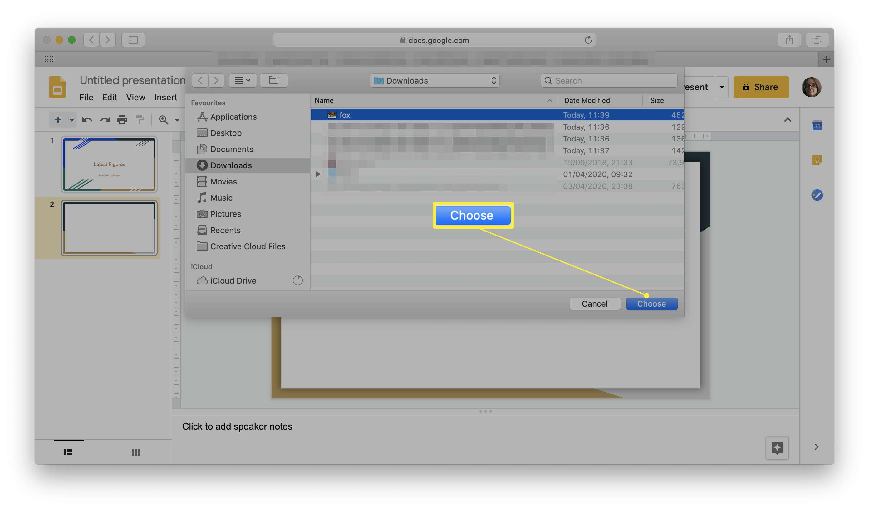 Google Slides with the image upload dialog highlighted