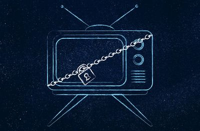 Blue, black, and white drawing of a television with a chain and padlock on it.
