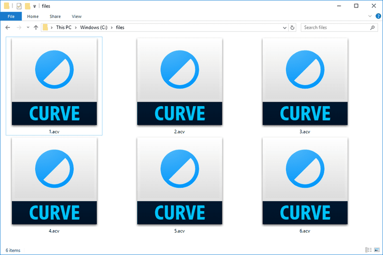Screenshot of several ACV files in Windows 10 that open with Photoshop